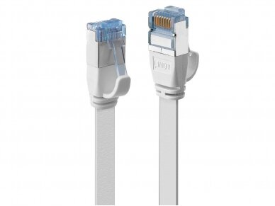 Komutacinis kabelis 0.3m U/FTP Cat6A, plokščias, baltas