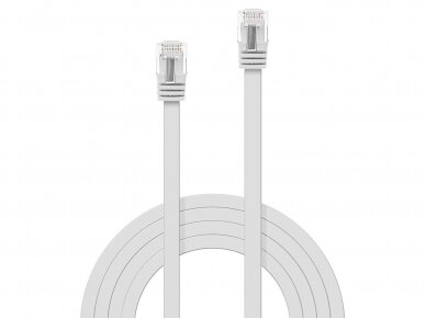 Komutacinis kabelis 0.3m U/UTP Cat6, plokščias, baltas 2