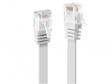 Komutacinis kabelis 0.3m U/UTP Cat6, plokščias, baltas