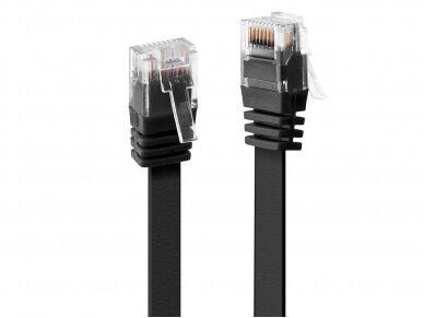 Komutacinis kabelis 0.3m U/UTP Cat6, plokščias, juodas