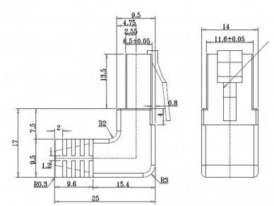 Komutacinis kabelis 0.5m F/UTP Cat5E, juodas kampinis-tiesus 4