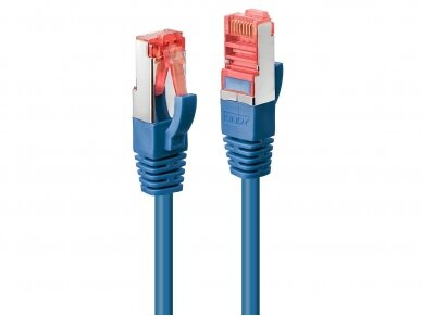 Komutacinis kabelis 0.5m S/FTP Cat6 Pimf, mėlynas