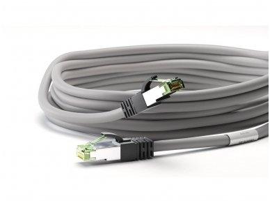 Komutacinis kabelis 10m S/FTP Cat8.1 Pimf, pilkas LSZH CU 4