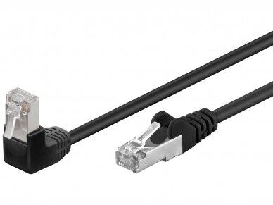 Komutacinis kabelis 1m F/UTP Cat5E, juodas kampinis-tiesus