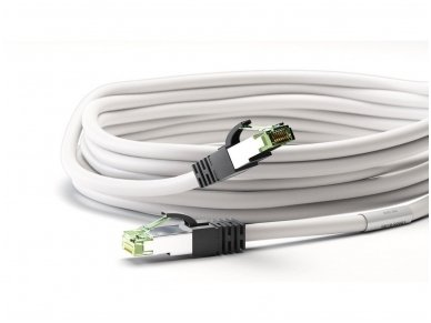 Komutacinis kabelis 3m S/FTP Cat8.1 Pimf, baltas LSZH CU 4