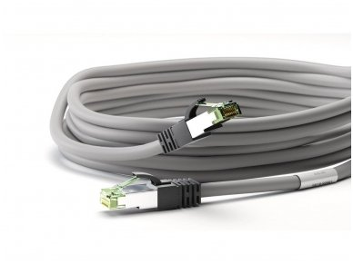 Komutacinis kabelis 7,5m S/FTP Cat8.1 Pimf, pilkas LSZH CU 4