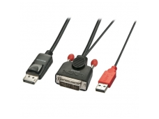 Lindy 0.5m DVI-D (with USB) to DP Active Adapter Cable. Black