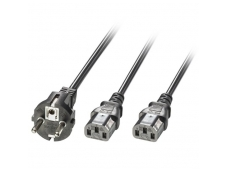 Lindy 2.1m Schuko 2 Pin Plug To 2 x IEC C13 Splitter Extension Cable. Black
