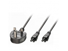 Lindy 2.5m UK 3 Pin Plug To IEC 2 x C5 Splitter Extension Cable. Black