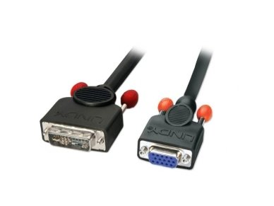 Lindy 1m DVI to VGA Adapter Cable - DVI-A (Analogue) Male to VGA Female. Black