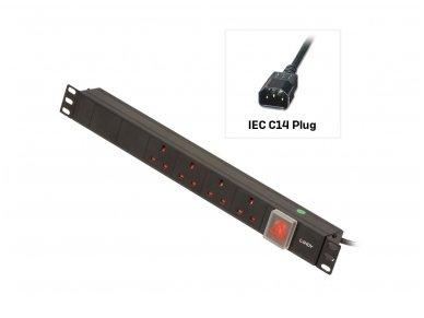 Lindy 1U 4 Way UK Sockets. Horizontal PDU with IEC C14 Cable