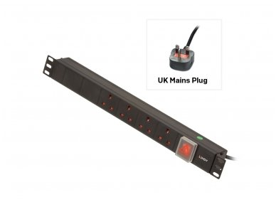 Lindy 1U 4 Way UK Sockets. Horizontal PDU with UK Plug