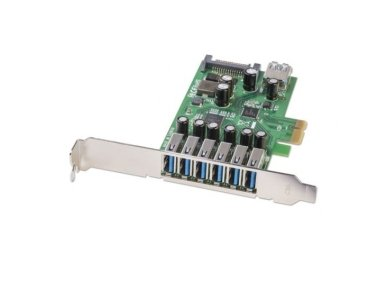 Lindy 6+1 Port USB 3.0 Card. PCIe - SATA power connector