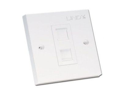 Lindy CAT5e Single Wall Plate with 1 x RJ-45 Shuttered Socket. Unshielded