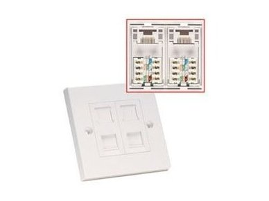 Lindy CAT6 Single Wall Plate with 2 x RJ-45 Shuttered Socket. Unshielded 2