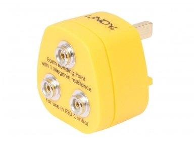 Lindy UK Anti-Static Earth Bonding Plug. 3 x 10mm Stud