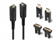 Micro HDMI 2.0, HDMI, DVI optinis kabelis 10m 4K 18G