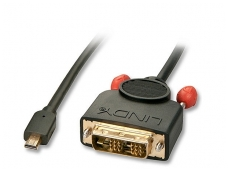Micro HDMI - DVI-D Single Link kabelis 1m