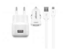 Micro USB krovimo rinkinys 2.1A, Auto, 220V, 1m baltas