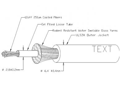 Optinis kabelis 12x50/125 vidinis/išorinis OM3