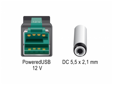 PoweredUSB kabelis 12V į DC 5.5x2.1mm, 1m POS 4