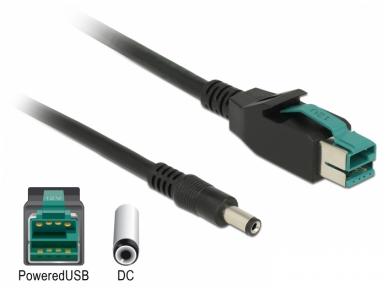 PoweredUSB kabelis 12V į DC 5.5x2.1mm, 1m POS