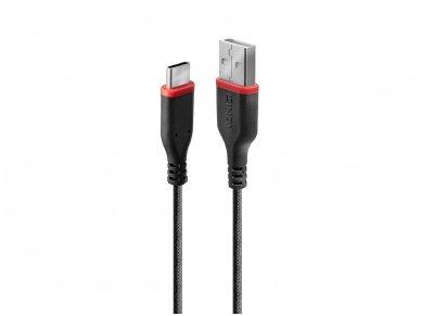 Sustiprintas USB-C 2.0 - USB A kabelis 1m, 3A