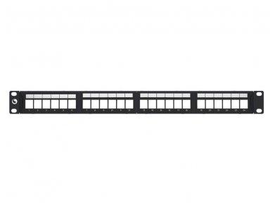 24 p. įleidžiama kampinė komut. panelė, STP, be lizdų, 1U 3