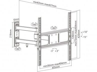 """TV laikiklis 32""""-55"""" iki 35kg, Basic FULLMOTION M 4"""