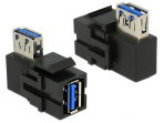 USB 3.0 A F - A F kampinis perėjimas Keystone juodas