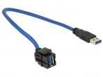 USB 3.0 A F - A M perėjimas, Keystone, 250L 0.5m
