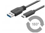USB-C 3.1 - USB 3.0 A kabelis 0.5m 5 Gbit/s, juodas
