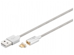 USB kabelis A M - magnetinis Micro B kištukas 1.2m, sidabr