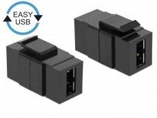 USB 2.0 A-A perėjimas, Keystone, juodas