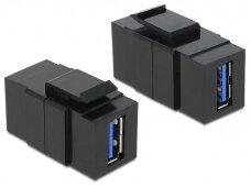 USB 3.0 A F - A F perėjimas Keystone juodas