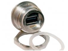 USB A tipo jungtis su dangteli