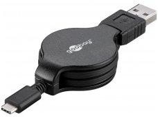 USB-C 2.0 ištraukiamas kabelis 1m 3A