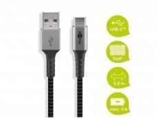 USB kabelis A - C 0.5m, tekstilė