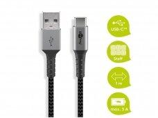 USB kabelis A - C 1m, tekstilė