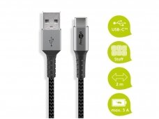 USB kabelis A - C 2m, tekstilė
