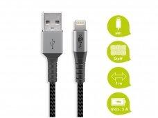 USB kabelis A - Lightning 1m tekstilė