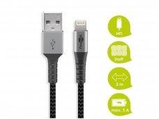 USB kabelis A - Lightning 2m tekstilė