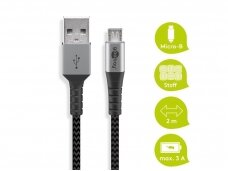 USB kabelis A - micro B 2m, tekstilė