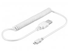 USB micro B spiralinis kabelis 1m, baltas