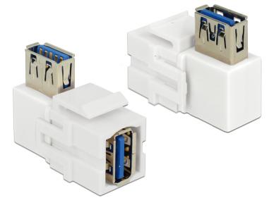 USB 3.0 A F - A F kampinis perėjimas Keystone baltas