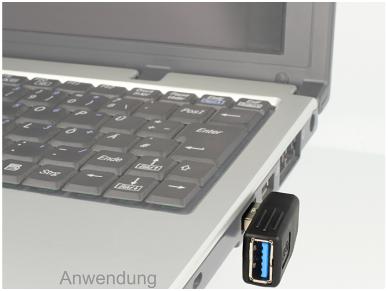 USB 3.0 A M - A F kampinis perėjimas, 270L 2