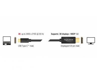 USB-C 3.1 į DisplayPort kabelis 3m 4K 60Hz 2