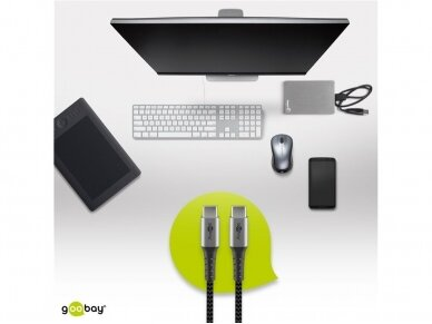 USB-C kabelis 1m, tekstilė 3