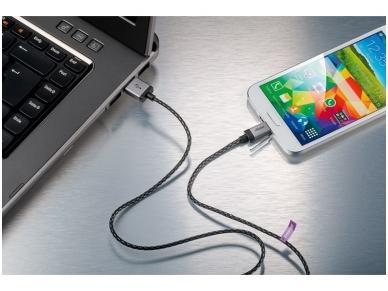 USB kabelis A kištukas - micro B kištukas 3m, lankstus 3