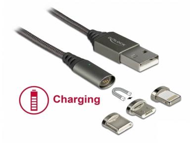 USB kabelis A M - magnetinis Micro, USB-C, Lightning  1m 2